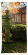 Sun Beams Over Japanese Stone Lantern Beach Sheet