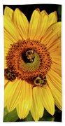 Sunflower And Bees Beach Sheet