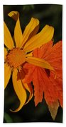 Sun Flower And Leaf Beach Towel