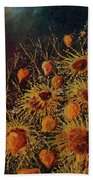 Sun Flowers And Physialis  Beach Towel