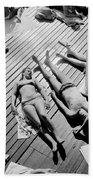 Sun Tanning At The Deligny Swimming Pool, Paris, June, 1963 Beach Towel