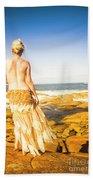 Sunbathing By The Sea Beach Towel