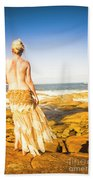 Sunbathing By The Sea Beach Sheet