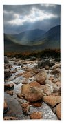 Sunbeams, Glencoe, Scotland Beach Towel