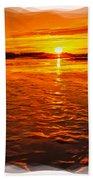 Sundown At Low Tide 2 Beach Towel