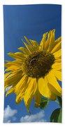 Sunflower And Blue Sky Beach Towel