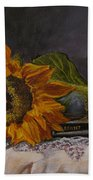 Sunflower And Book Beach Towel by Judy Bradley