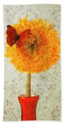 Sunflower And Red Butterfly Beach Towel