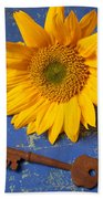Sunflower And Skeleton Key Beach Towel