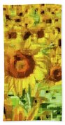 Sunflower Edges Beach Towel