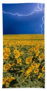 Sunflower Lightning Field  Beach Towel