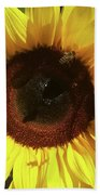 Sunflower With Bees Beach Towel