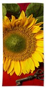 Sunflower With Old Key Beach Towel
