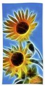 Sunflowers-5246-fractal Beach Towel