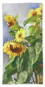 Sunflowers After The Rain Beach Towel