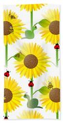 Sunflowers And Bees Beach Towel