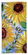 Sunflowers And Butterflies Beach Towel