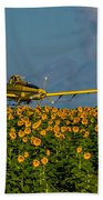 Sunflowers And Crop Duster Beach Towel