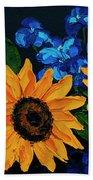 Sunflowers And Delphinium Beach Towel