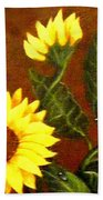 Sunflowers And Dewdrops Beach Towel