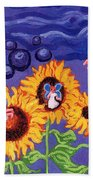 Sunflowers And Faeries Beach Towel