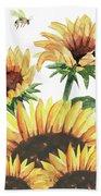 Sunflowers And Honey Bees Beach Towel