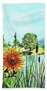 Sunflowers And Jaybird Beach Towel