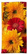 Sunflowers And Red Mums Beach Towel