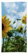 Sunflowers And The Bee Beach Towel