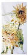 Sunflowers II Uncropped Beach Towel by Monique Faella