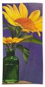 Sunflowers In A Green Bottle Beach Towel