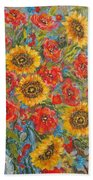 Sunflowers In Blue Pitcher. Beach Towel