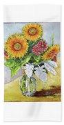 Sunflowers In Glass Vase Beach Towel