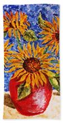 Sunflowers In Red Vase. Beach Towel