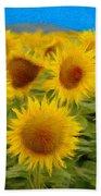 Sunflowers In The Field Beach Sheet
