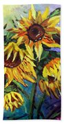 Sunflowers In The Rain Beach Towel