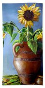 Sunflowers In Vase Beach Towel