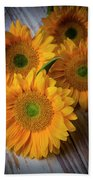 Sunflowers On White Boards Beach Towel