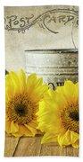Sunflowers Postcard Beach Towel