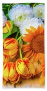 Sunflowers Tulips Beach Towel
