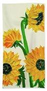 Sunflowers Using Palette Knife Beach Towel