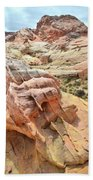 Sunlight On Colorful Boulder Above Wash 3 In Valley Of Fire Beach Towel