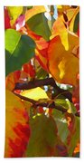 Sunlit Fall Leaves Beach Towel