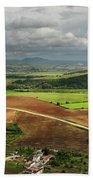 Sunlit Farms And Fields Below Arcos De La Frontera Andalusia Spa Beach Towel