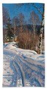 Sunlit Winter Landscape Beach Towel