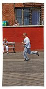 Sunny Morning On A Boardwalk In Brighton Beach  Beach Towel