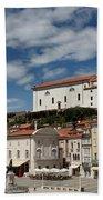 Sunny Tartini Square In Piran Slovenia With Government Building, Beach Towel