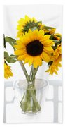 Sunny Vase Of Sunflowers Beach Towel
