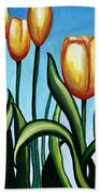 Sunny Yellow Tulips Beach Towel