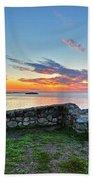 Sunrise At Castle Rock Marblehead Ma Rocky Coast Beach Towel